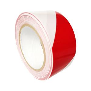 Ruban marquage au sol PVC Solvant 180µ Rouge Blanc 50mm x 33ml