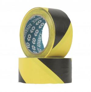 Ruban adhésif PVC solvant 140µ Jaune Noir high cube  50mm x 33ml
