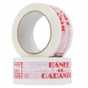 Ruban PP Hot melt Bande de garantie Rouge sur fond blanc 48mm x 100ml