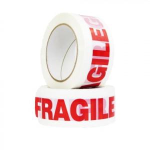 Ruban adhésif PP Acrylique 28µ Blanc imprimé Rouge «FRAGILE» 50mm x 100ml