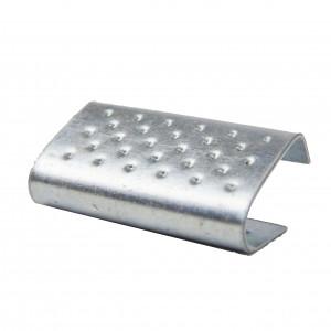 Chapes métallique semi ouvertes crantée renforcée pour feuillard plastique 16mm