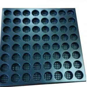 Plateau thermoformé PS Noir recyclé Ep 0.5mm diam 23mm 300 x 200mm