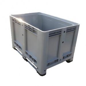 Bac plastique PP gerbable étanche dim ext  800 x 600 x 325mm 134L Gris