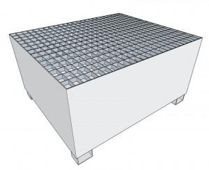 Bac rétention 1002L acier galvanisé pieds U 1380 x 1170 x 730mm